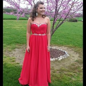 Red Strapless Tulle Beaded Prom Dress